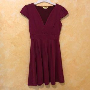 MODCLOTH maroon cap sleeve dress size SMALL